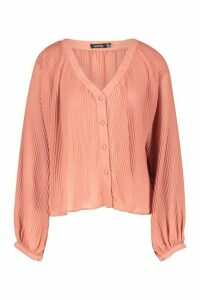 Womens Pleated Button Through Blouse - pink - 14, Pink
