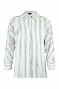 Womens Cotton Stripe Oversized Shirt - white - 14, White