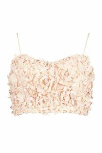 Womens Premium Floral Applique Bralet - Beige - XS, Beige