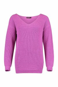 Womens Oversized Fisherman V Neck Jumper - purple - M, Purple