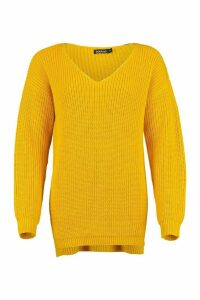 Womens Oversized Fisherman V Neck Jumper - yellow - M, Yellow