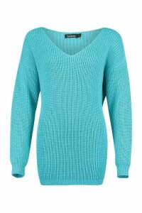 Womens Oversized Fisherman V Neck Jumper - blue - S, Blue