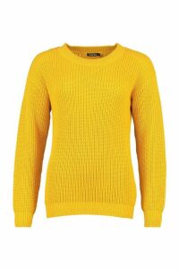 Womens Fisherman Crew Neck Jumper - Yellow - L, Yellow