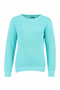 Womens Fisherman Crew Neck Jumper - blue - M, Blue