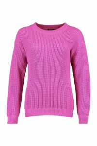 Womens Fisherman Crew Neck Jumper - Purple - L, Purple