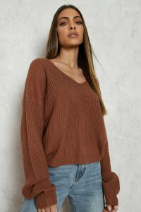 Womens Cropped Fisherman V Neck Jumper - Beige - L, Beige