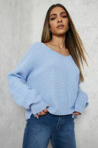 Womens Cropped Fisherman V Neck Jumper - blue - L, Blue