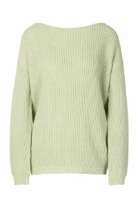 Womens V Back Oversized Jumper - green - M, Green