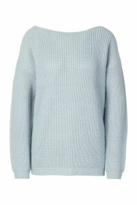 Womens V Back Oversized Jumper - Blue - S, Blue