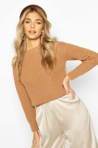 Womens Cropped Fisherman Jumper - beige - M, Beige