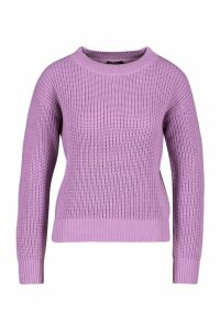 Womens Cropped Fisherman Jumper - purple - M, Purple