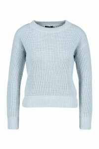 Womens Cropped Fisherman Jumper - blue - L, Blue