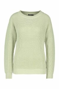 Womens Fisherman Crew Neck Jumper - green - S, Green