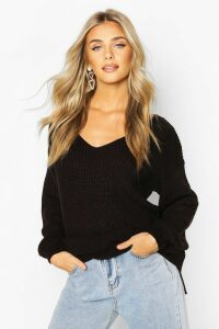 Womens Oversized Fisherman V Neck Jumper - black - M, Black