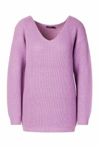 Womens Oversized Fisherman V Neck Jumper - purple - S, Purple