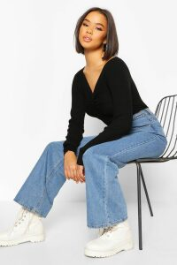 Womens Twist front Rib Cropped Jumper - black - M, Black