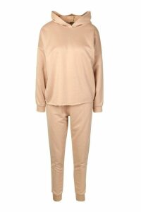 Womens Fit Side Stripe Hoodie & Jogger Lounge Set - Beige - 8, Beige
