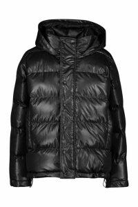 Womens High Shine Oversized Hooded Puffer Jacket - black - 14, Black