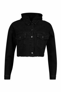 Womens Jersey Hood Denim Jacket - Black - 16, Black
