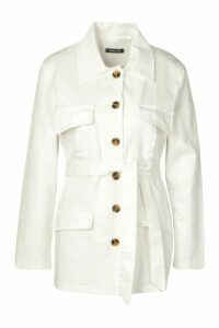 Womens Utility Pocket Tie Waist Woven Jacket - Cream - 16, Cream