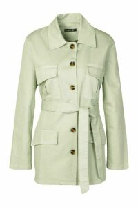 Womens Utility Pocket Tie Waist Woven Jacket - Green - 14, Green