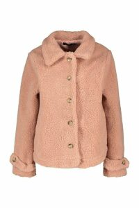 Womens Teddy Faux Fur Curved Hem Coat - pink - 16, Pink