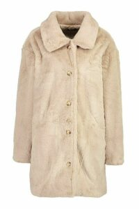 Womens Oversized Collared Faux Fur Coat - beige - 16, Beige