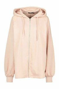 Womens Mix & Match Oversized Longline Zip Hoodie - beige - XL, Beige