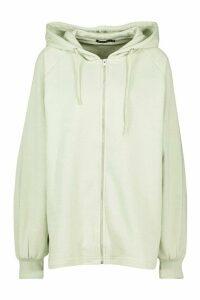 Womens Mix & Match Oversized Longline Zip Hoodie - green - XL, Green