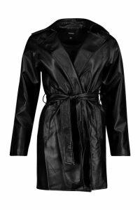 Womens Leather Look PU Belted Wrap Jacket - black - 14, Black