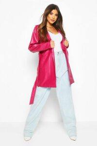 Womens Leather Look PU Belted Wrap Jacket - pink - 8, Pink