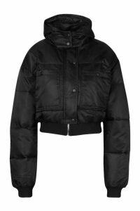 Womens Cropped Double Pocket Puffer Jacket - black - 14, Black