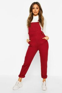 Womens Denim Dungaree - red - 16, Red