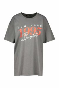 Womens The Hamptons Graphic Slogan Oversized T-Shirt - grey - S, Grey