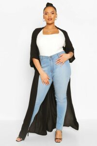 Womens Plus Woven Longline Kimono - Black - 20, Black