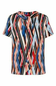 Tie-neck top with zigzag-stripe print