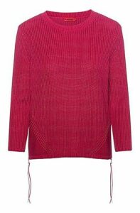 Ribbed sweater in pure cotton with zipped side seams