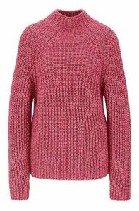 Relaxed-fit high-neck sweater in cotton with alpaca