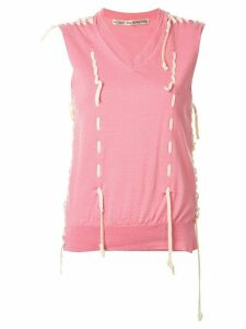 Comme Des Garçons Pre-Owned destroyed lace-up knitted top - PINK