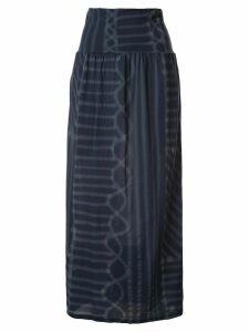 Yohji Yamamoto Pre-Owned spray paint print midi skirt - Blue