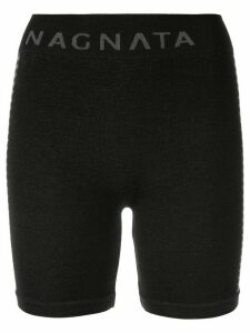 Nagnata merino-blend Suki side stripe biker shorts - Black