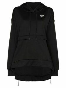 adidas X J KOO step-hem logo print hoodie - Black