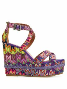 Missoni embroidered wedged sandals - PINK