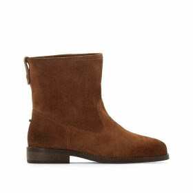 Suede Western Ankle Boots with Faux Fur Lining