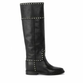 Via Roma 15 Boot In Black Leather With Studs And Applied Micro-studs