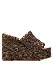 Casadei woven wedge sandals - Brown