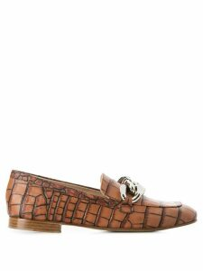 Casadei embossed chain detail loafers - Brown