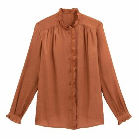 Ruffled Jacquard Shirt with High Neck