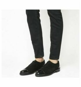 Office Face Up Lace Up With Patent Toe Cap BLACK SUEDE PATENT TOE CAP