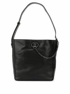 DKNY chain logo plaque shoulder bag - Black